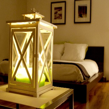 lantern by bed