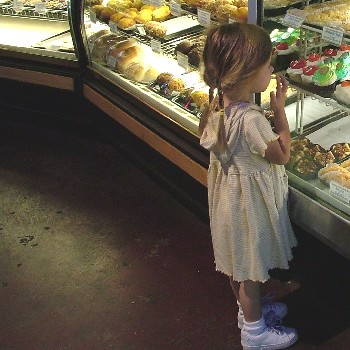 girl shopping bakery
