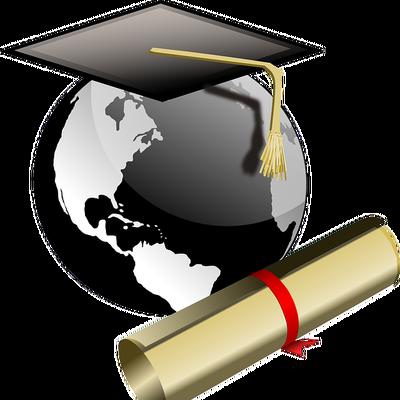 graduation cap world and diploma